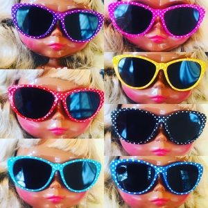 Doll Sunglasses Polka Dot Cat Eye Retro Blythe AG
